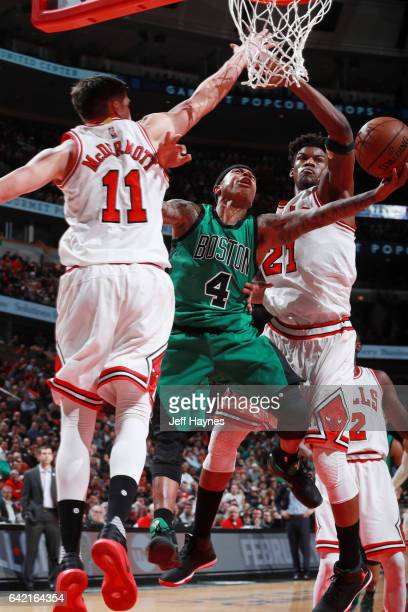 Isaiah Thomas of the Boston Celtics goes for a lay up against the Chicago Bulls during the game on February 16 2017 at the United Center in Chicago...