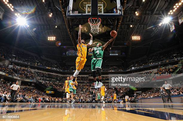 Isaiah Thomas of the Boston Celtics goes to the basket against the Indiana Pacers on November 12 2016 at Bankers Life Fieldhouse in Indianapolis...