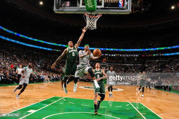 Isaiah Thomas of the Boston Celtics goes to the basket against the Milwaukee Bucks on April 12 2017 at the TD Garden in Boston Massachusetts NOTE TO...