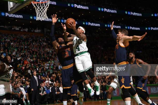 Isaiah Thomas of the Boston Celtics goes up for a lay up against the Cleveland Cavaliers on March 1 2017 at the TD Garden in Boston Massachusetts...