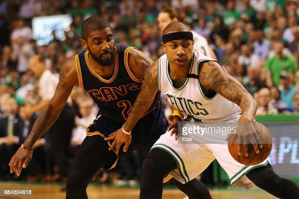 Isaiah Thomas of the Boston Celtics handles the ball against Kyrie Irving of the Cleveland Cavaliers in the first half during Game One of the 2017...