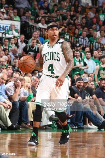 Isaiah Thomas of the Boston Celtics handles the ball against the Cleveland Cavaliers in Game One of the Eastern Conference Finals during the 2017 NBA...