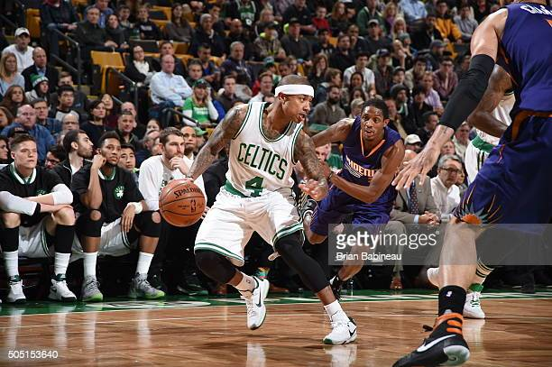 Isaiah Thomas of the Boston Celtics handles the ball against the Phoenix Suns on January 15 2016 at the TD Garden in Boston Massachusetts NOTE TO...
