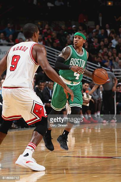 Isaiah Thomas of the Boston Celtics handles the ball against the Chicago Bulls on October 27 2016 at the United Center in Chicago Illinois NOTE TO...