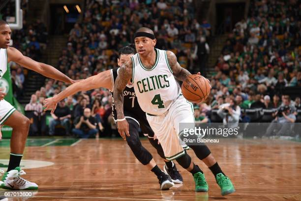 Isaiah Thomas of the Boston Celtics handles the ball against the Brooklyn Nets on April 10 2017 at the TD Garden in Boston Massachusetts NOTE TO USER...