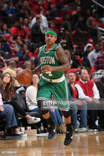 Isaiah Thomas of the Boston Celtics handles the ball against the Chicago Bulls during Game Three of the Eastern Conference Quarterfinals of the 2017...