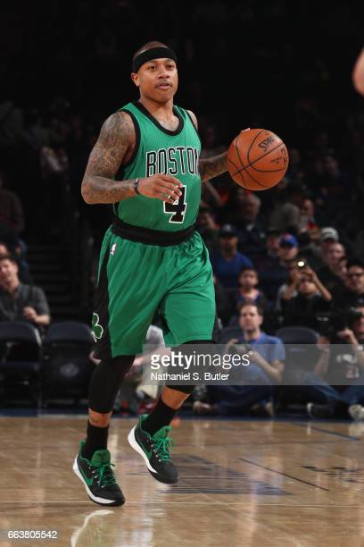 Isaiah Thomas of the Boston Celtics handles the ball during a game against the New York Knicks on April 2 2017 at Madison Square Garden in New York...