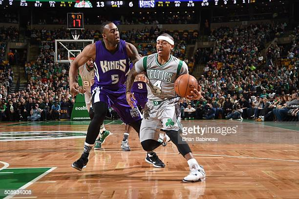 Isaiah Thomas of the Boston Celtics handles the ball during the game against James Anderson of the Sacramento Kings on February 7 2016 at the TD...