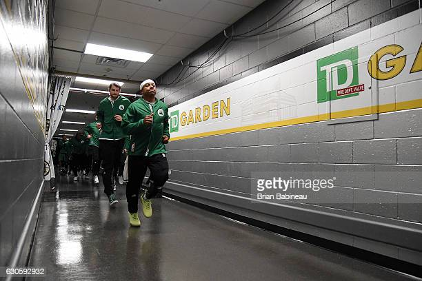 Isaiah Thomas of the Boston Celtics heads out to the court before the game against the Memphis Grizzlies on December 27 2016 at TD Garden in Boston...