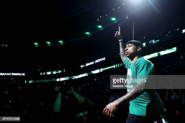 Isaiah Thomas of the Boston Celtics is announced before Game One of the Eastern Conference Semifinals against the Washington Wizards at TD Garden on...