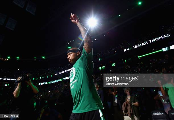 Isaiah Thomas of the Boston Celtics is introduced prior to Game One of the 2017 NBA Eastern Conference Finals against the Cleveland Cavaliers at TD...