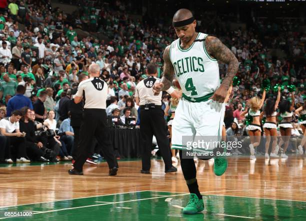 Isaiah Thomas of the Boston Celtics is seen before the game against the Cleveland Cavaliers in Game Two of the Eastern Conference Finals during the...