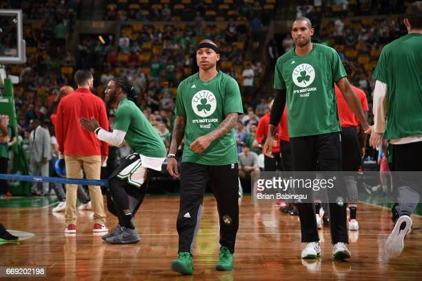 Isaiah Thomas of the Boston Celtics looks on before the game against the Chicago Bulls during the Eastern Conference Quarterfinals of the 2017 NBA...