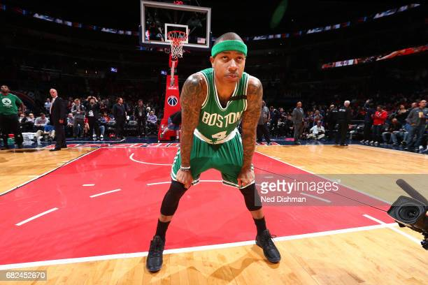 Isaiah Thomas of the Boston Celtics looks on before the game against the Washington Wizards during Game Six of the Eastern Conference Semifinals of...
