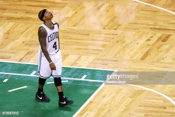 Isaiah Thomas of the Boston Celtics looks on during the fourth quarter of Game Five of the Eastern Conference Quarterfinals against the Chicago Bulls...