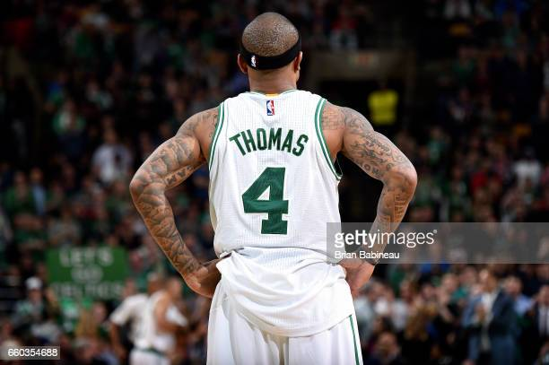 Isaiah Thomas of the Boston Celtics looks on during the game against the Milwaukee Bucks on March 29 2017 at TD Garden in Boston Massachusetts NOTE...
