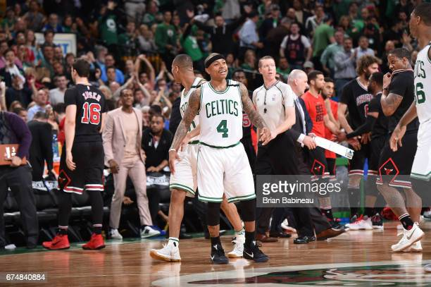 Isaiah Thomas of the Boston Celtics looks on during the game against the Chicago Bulls during Game Five of the Eastern Conference Quarterfinals of...