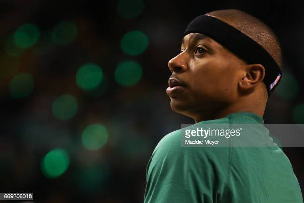 Isaiah Thomas of the Boston Celtics looks on during warm ups before Game One of the Eastern Conference Quarterfinals against the Chicago Bulls at TD...