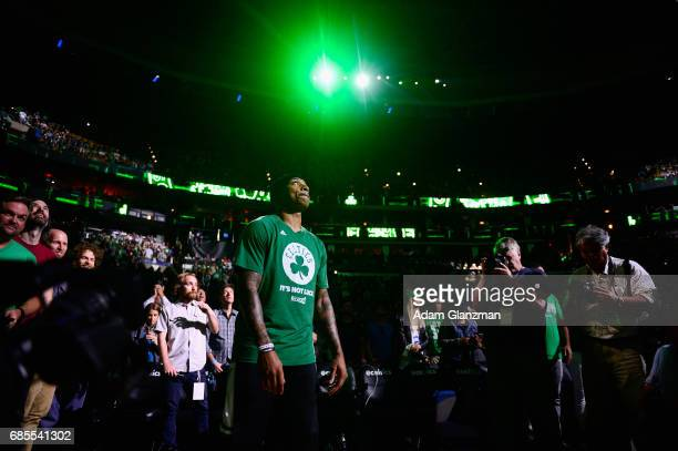 Isaiah Thomas of the Boston Celtics looks on prior to Game Two of the 2017 NBA Eastern Conference Finals against the Cleveland Cavaliers at TD Garden...