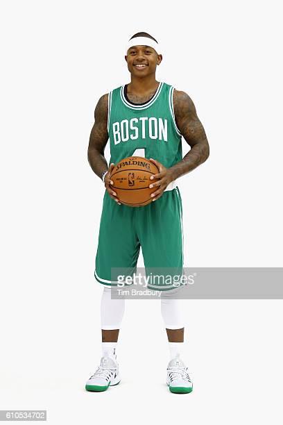 Isaiah Thomas of the Boston Celtics poses for a photo during Boston Celtics Media Day on September 26 2016 in Waltham Massachusetts