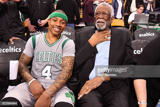 Isaiah Thomas of the Boston Celtics poses for a photo with NBA Legend Bill Russell after the game against the Miami Heat on April 13 2016 at the TD...