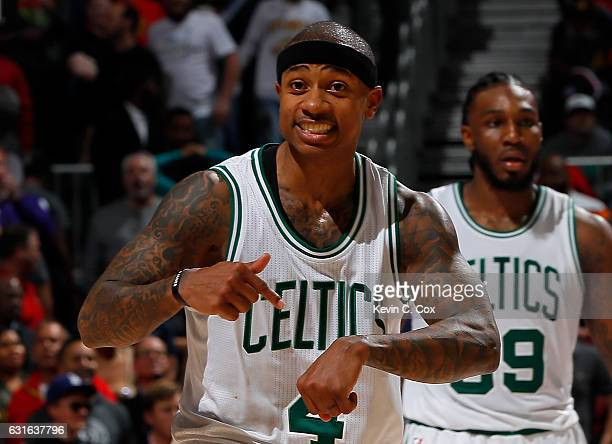 Isaiah Thomas of the Boston Celtics reacts after hitting a threepoint basket in the final minute of their at 103101 against the Atlanta Hawks Philips...