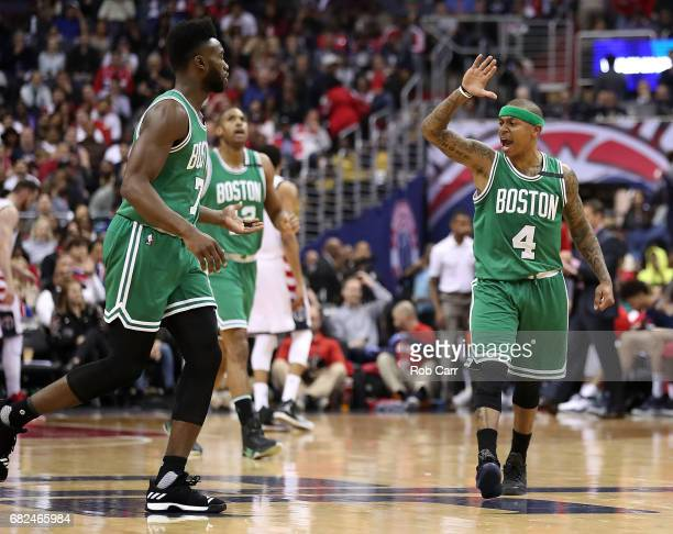 Isaiah Thomas of the Boston Celtics reacts to Jaylen Brown after a score against the Washington Wizards during Game Six of the NBA Eastern Conference...