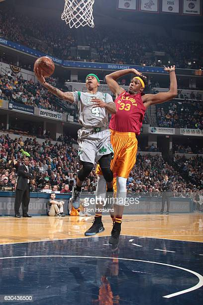 Isaiah Thomas of the Boston Celtics shoots a free throw against Myles Turner of the Indiana Pacers during the game on December 22 2016 at Bankers...