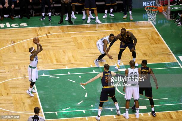 Isaiah Thomas of the Boston Celtics shoots a free throw during the fourth quarter against the Cleveland Cavaliers at TD Garden on March 1 2017 in...