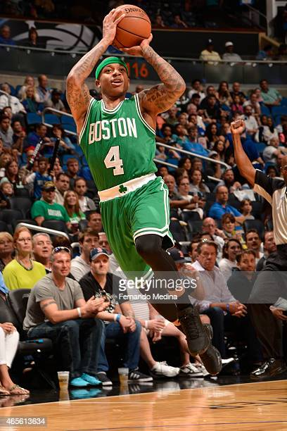 Isaiah Thomas of the Boston Celtics shoots against the Orlando Magic on March 8 2015 at Amway Center in Orlando Florida NOTE TO USER User expressly...