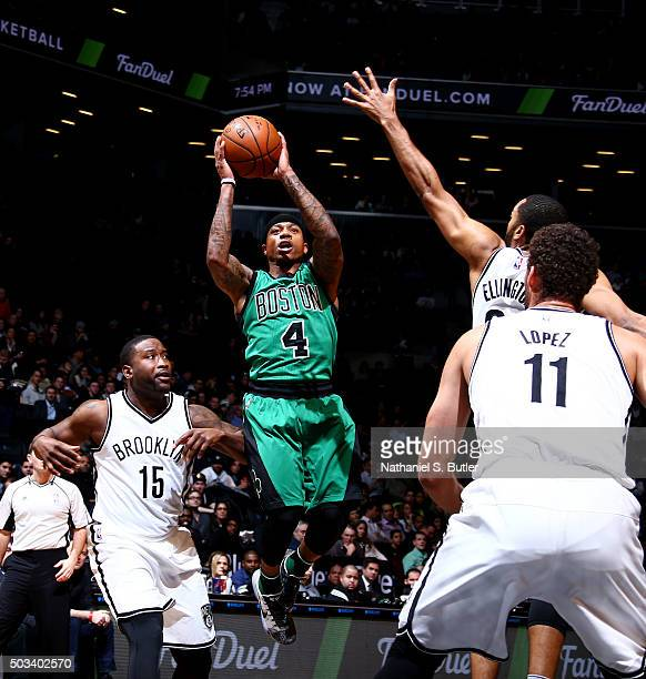 Isaiah Thomas of the Boston Celtics shoots the ball against the Brooklyn Nets on January 4 2016 at Barclays Center in Brooklyn New York NOTE TO USER...