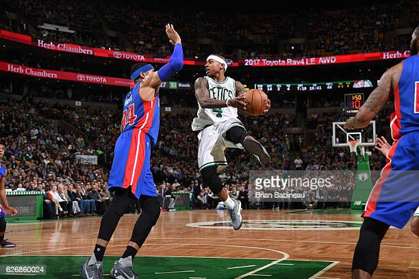 Isaiah Thomas of the Boston Celtics shoots the ball against the Detroit Pistons on November 30 2016 at the TD Garden in Boston Massachusetts NOTE TO...
