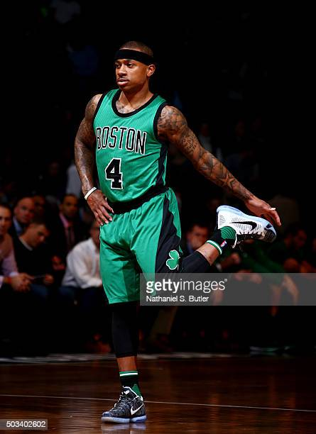 Isaiah Thomas of the Boston Celtics warms up during the game against the Brooklyn Nets on January 4 2016 at Barclays Center in Brooklyn New York NOTE...