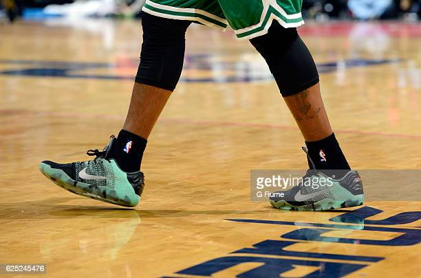ad3ec344813c Isaiah Thomas of the Boston Celtics wears Nike shoes during the game  against the Washington Wizards