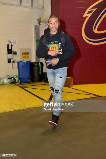 Isaiah Thomas of the Cleveland Cavaliers arrives before the game against the Los Angeles Lakers on December 14 2017 at Quicken Loans Arena in...