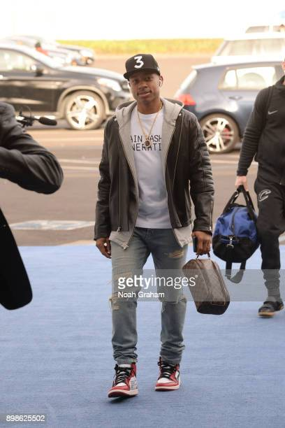 Isaiah Thomas of the Cleveland Cavaliers arrives before the game against the Golden State Warriors on December 25 2017 at ORACLE Arena in Oakland...