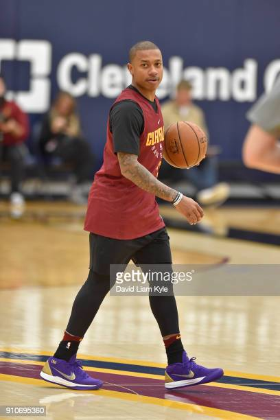 Isaiah Thomas of the Cleveland Cavaliers dribbles the ball during an allaccess practice at The Cleveland Clinic Courts on January 25 2018 in...