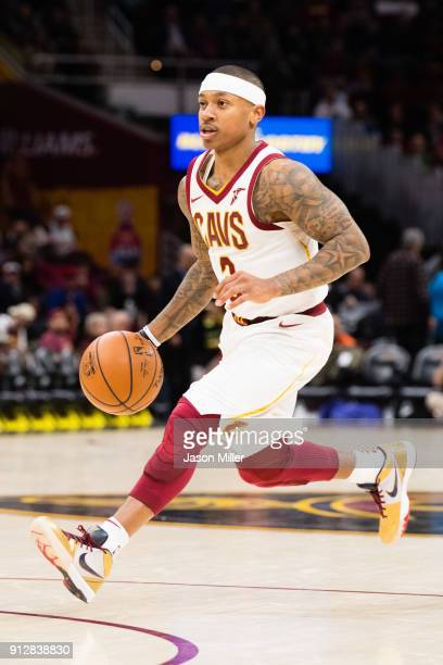 Isaiah Thomas of the Cleveland Cavaliers drives the ball down court during the second half against the Miami Heat at Quicken Loans Arena on January...