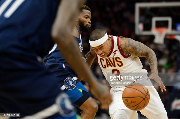 Isaiah Thomas of the Cleveland Cavaliers drives to the basket against Aaron Brooks of the Minnesota Timberwolves during the game on January 8 2018 at...