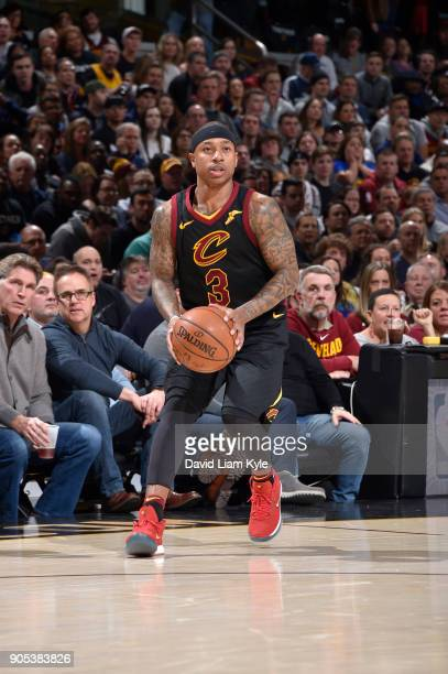 Isaiah Thomas of the Cleveland Cavaliers handles the ball against the Golden State Warriors on January 15 2018 at Quicken Loans Arena in Cleveland...
