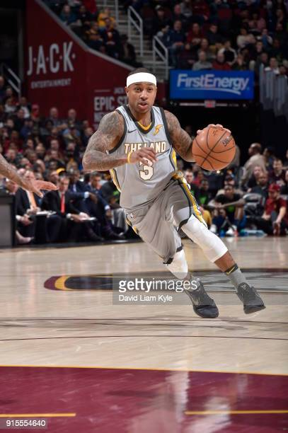 Isaiah Thomas of the Cleveland Cavaliers handles the ball against the Minnesota Timberwolves on February 7 2018 at Quicken Loans Arena in Cleveland...