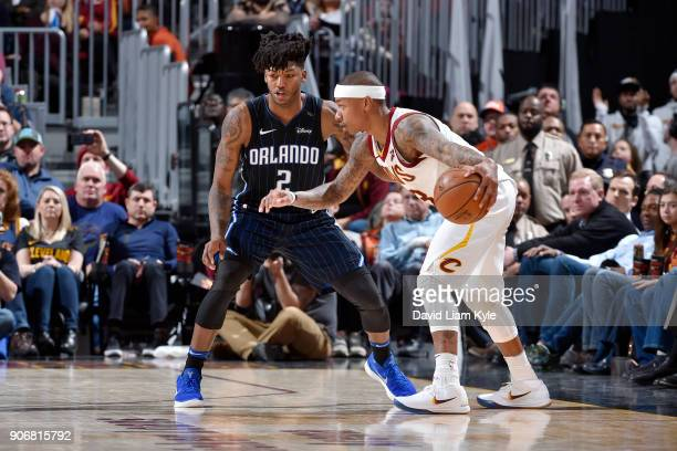 Isaiah Thomas of the Cleveland Cavaliers handles the ball during the game against the Orlando Magic on January 18 2018 at Quicken Loans Arena in...