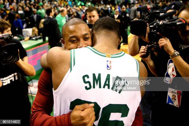 Isaiah Thomas of the Cleveland Cavaliers hugs Marcus Smart of the Boston Celtics after the Celtics defeat the Cavaliers 10288 at TD Garden on January...