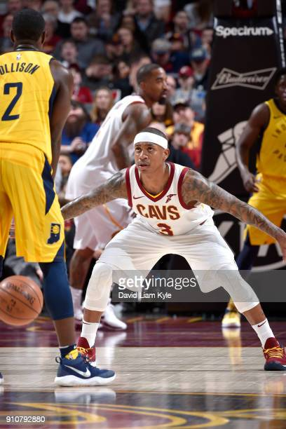 Isaiah Thomas of the Cleveland Cavaliers on the defense against the Indiana Pacers on January 26 2018 at Quicken Loans Arena in Cleveland Ohio NOTE...
