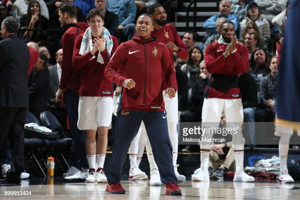 Isaiah Thomas of the Cleveland Cavaliers reacts during game against the Utah Jazz on December 30 2017 at Vivint Smart Home Arena in Salt Lake City...
