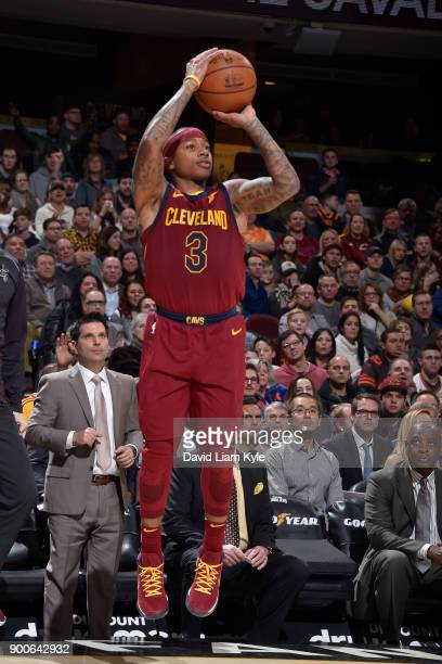 Isaiah Thomas of the Cleveland Cavaliers shoots the ball against the Portland Trail Blazers on January 2 2018 at Quicken Loans Arena in Cleveland...