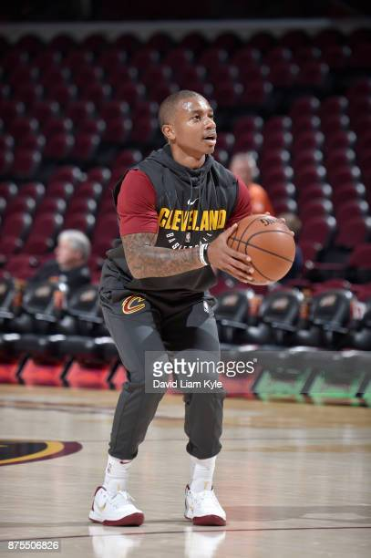 Isaiah Thomas of the Cleveland Cavaliers shoots the ball during warmups before the game against the LA Clippers on November 17 2017 at Quicken Loans...