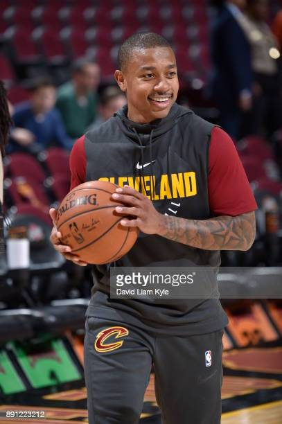 Isaiah Thomas of the Cleveland Cavaliers warms up before the game against the Atlanta Hawks on December 12 2017 at Quicken Loans Arena in Cleveland...