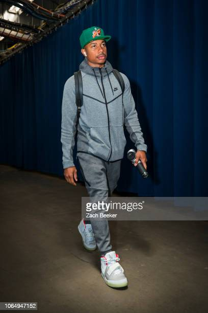 Isaiah Thomas of the Denver Nuggets arrives for the game against the Oklahoma City Thunder on November 24 2018 at Chesapeake Energy Arena in Oklahoma...