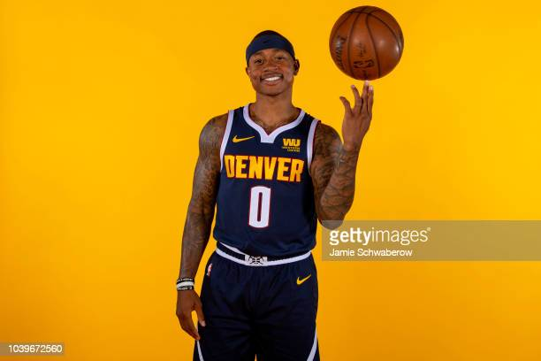 Isaiah Thomas of the Denver Nuggets poses for a portrait during the Denver Nuggets Media Day at the Pepsi Center on September 24 2018 in Denver...